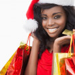 Festive woman standing looking while holding bags — Stock Photo #23489997