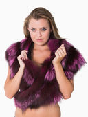 Woman wearing fur stole — Stock Photo