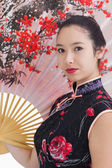 Woman wearing traditional Asian clothing — Stock Photo