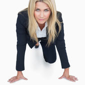 Businesswoman ready to race — Stock Photo