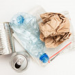 Plastic paper and mteallic waste - Stockfoto