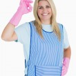 Cleaner woman making ok hand sign — Stock Photo