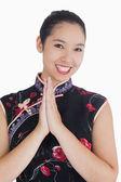 Happy woman in kimono — Stock Photo