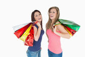 Two women with shopping bags — Stock Photo