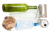 Plastic paper glass and mteallic recyclable waste — Stock Photo