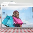 Digital internet window showing girl with shopping bags — Stock Photo #24058763