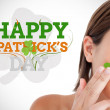 Saint patricks day greeting with smiling woman — Stock Photo