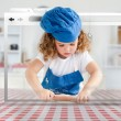 Stock Photo: Digital internet window showing girl in cookery gear rolling pastry
