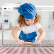 Digital internet window showing girl in cookery gear rolling pastry — Stockfoto