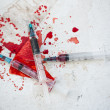 Three syringes in pool of blood — Stock Photo