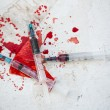 Three syringes in pool of blood — Stock Photo #24059127