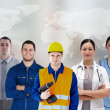 Stock Photo: Five workers of different industries