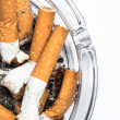 Stock Photo: Close up overhead of ashtray