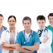 Group of hospital workers standing in line — Stock Photo