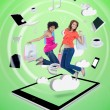 Two happy women jumping on a tablet pc — Stockfoto