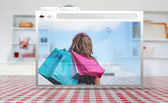 Digital internet window showing girl with shopping bags — Stock Photo