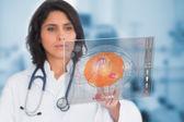 Doctora, una pantalla táctil — Foto de Stock