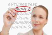Businesswoman finding money — Foto Stock