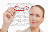 Iş kadını bulmak para — Stok fotoğraf