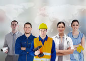 Five workers of different industries — Stock Photo