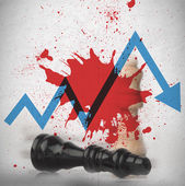 Blood spatter on wall with loss arrow and fallen chess piece — Stock Photo