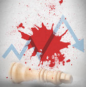Blood spatter with loss arrow and fallen chess piece — Stock Photo