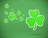 Green shamrocks on green background — Stock Photo