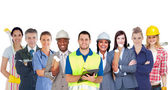 Groupe de sourire avec différents emplois permanent en ligne — Photo