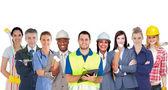 Grupa uśmiechający się z różnych miejsc pracy, stojąc w kolejce — Zdjęcie stockowe