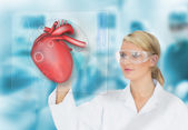Doctor consulting heart diagram on touchscreen display — Stock Photo