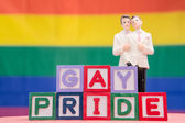 Blocks spelling gay pride with gay groom cake topper — Stock Photo