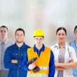 Stock Photo: Smiling with different jobs standing arms folded in line