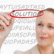 Businesswoman finding solution — Stock Photo