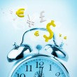 Time is money in blue with yellow currency - Foto de Stock