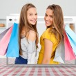Digital internet window showing girls with shopping bags - Stock Photo