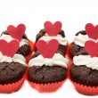Six chocolate valentines cupcakes — Stock Photo