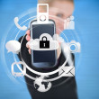 Stock Photo: Businesswomholding up locked smart phone