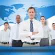 Business team on blue world map background — Stock Photo #24061819