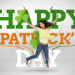 Artistic st patricks day message with jumping girl — Stock Photo #24061907