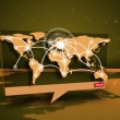 Digital speech box showing global connections coming from world map — Stock Photo