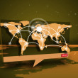 Digital speech box showing global connections coming from world map - Stock Photo