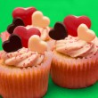 Close up of three valentines cupcakes - Stock Photo