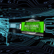 Royalty-Free Stock Photo: Welcome screen in digital circuit board