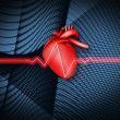 Red ECG line on black background with heart illustration — Stock Photo