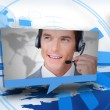 Digital speech box showing man in headset - Stock Photo