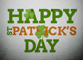 Bold st patricks day message with shamrocks — Stock Photo