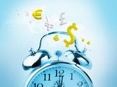 Time is money in blue with yellow currency — Stock Photo