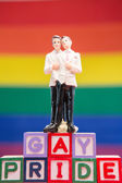 Gay groom cake topper on blocks spelling gay pride — Stock Photo