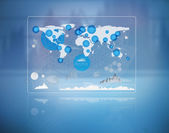 Futuristic screen with the world map — Stock Photo