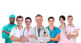 Smiling medical team standing arms crossed in line — Stock Photo